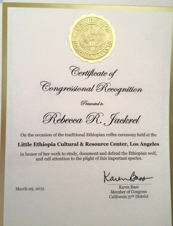 Certificate of Congressional Recognition